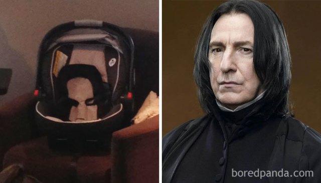 Sillita de bebé que se semeja a Severus Snape