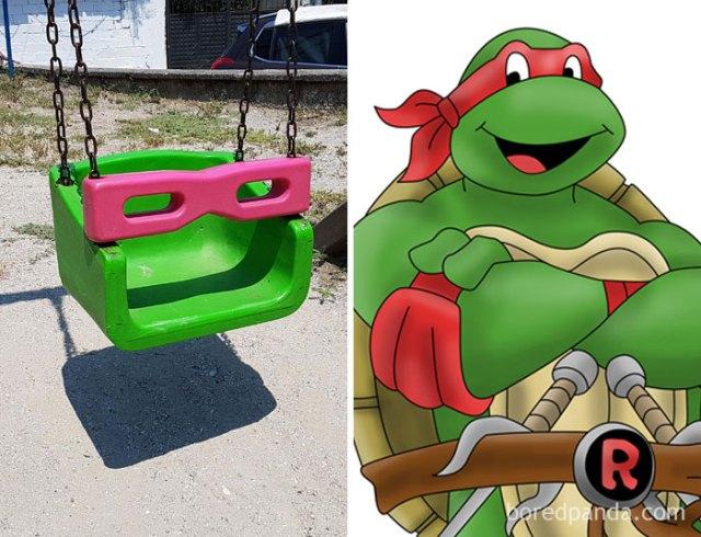 Columpio que se semeja a Raphael de las Tortugas Ninja