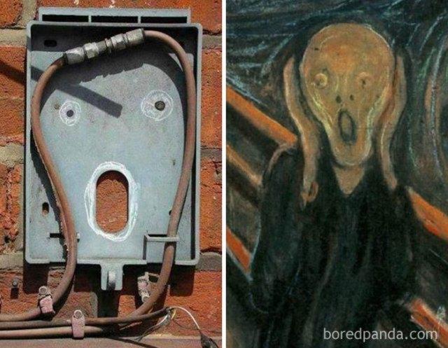 Cable que semeja el Grito de Munch