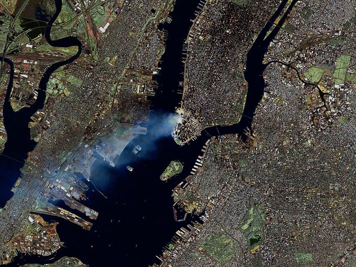 Smoke Plumes Are Clearly Visible In This Landsat 7 Satellite Image Of New York City Made Early On September 12
