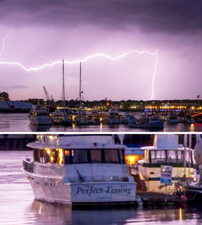 Brother Spent A Year Trying To Get A Lightning Photo. He Caught This Last Night, I Just Noticed The Boat In The Bottom Left