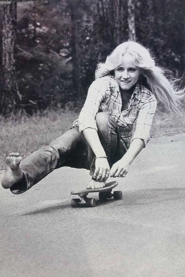 My Mother Skateboarding Barefoot In California In 1974