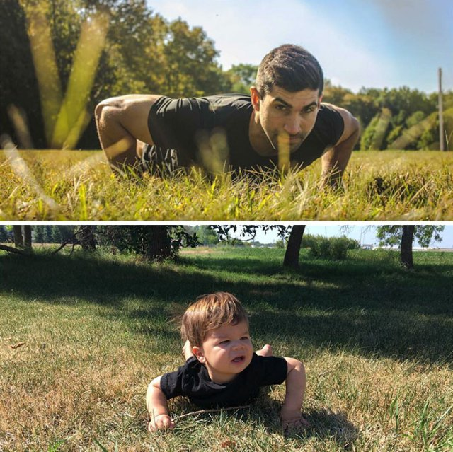 Mom Makes Fun Of Her Model Brother By Having Her Toddler Recreate His Poses, And Result Is Hilariously Adorable