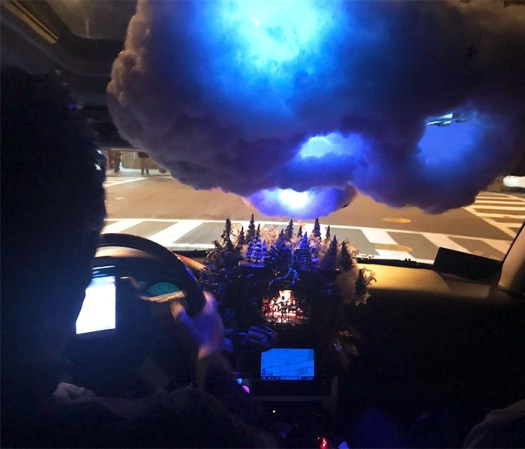 A Cloud With Lightning, A Fireplace And A Moon - Arguably The Coolest Uber Ever