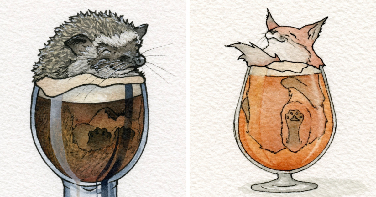 Watercolor Artist And Home Brewer Creates Cute Drawings Of Animals Chilling Out In Booze Bored Panda