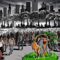 Ilustraciones satíricas de los problemas de hoy