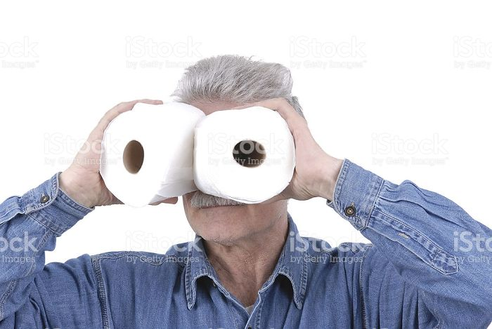 Old Man Uses Toilet Paper As Binoculars
