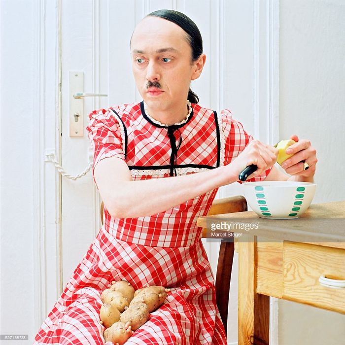 Hitler With Potatoes And A Picnic Blanket Looking Dress