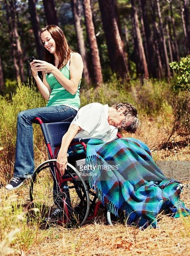 Posting A Selfie With Grandma
