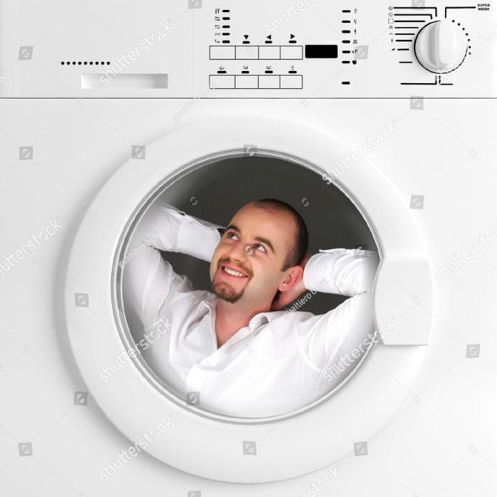 Man Has Relax Time Inside Of Washing Machine