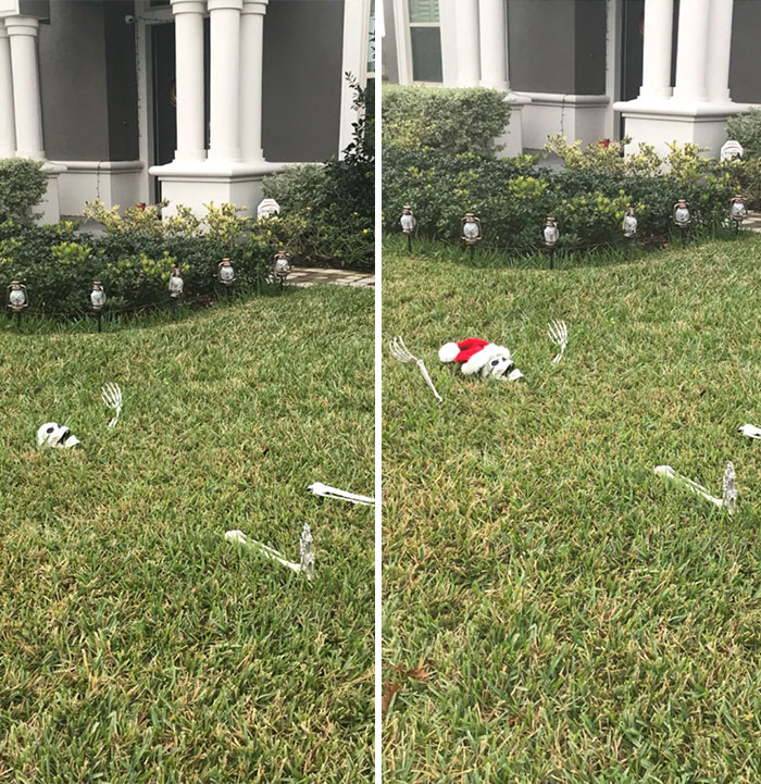 """Next Day After Halloween: """"Finally Finished The Christmas Decorations!"""""""