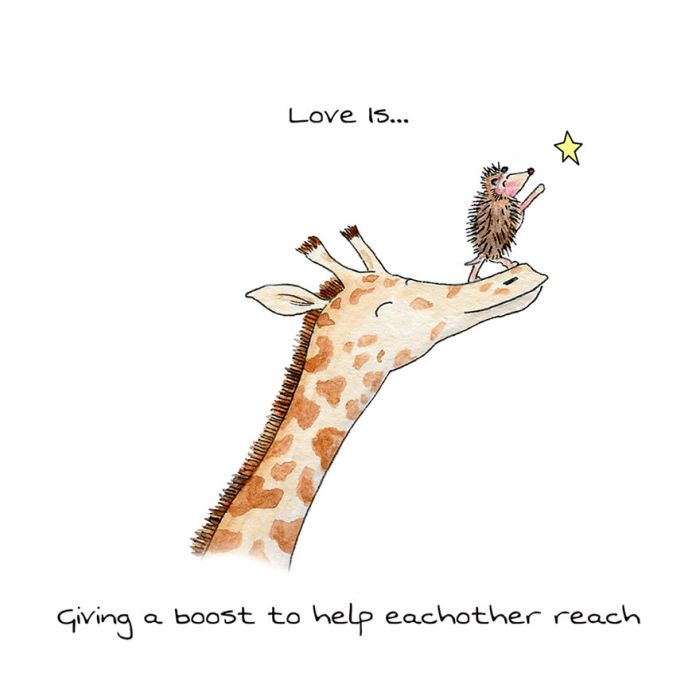 Love Is Giving A Boost To Help Each Other Reach