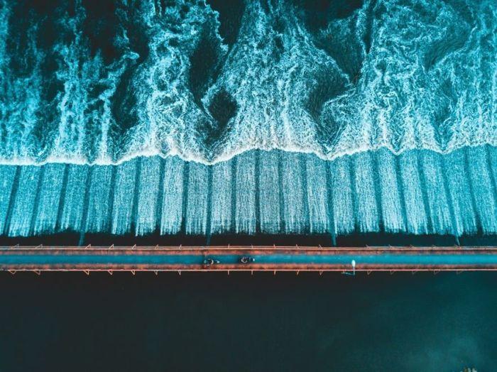 Motorbike Bridge Over River In Thailand