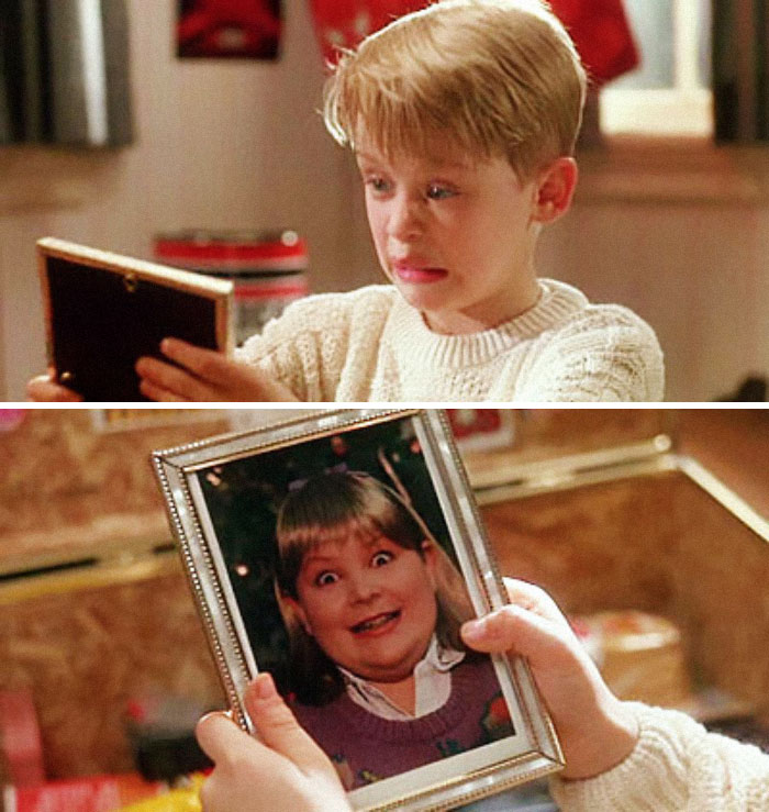 """When Kevin Goes Through Buzz's Things, He Finds A Picture Of His Girlfriend. He Says """"Woof,"""" Implying That She's A Dog. Director, Chris Columbus, Thought It Would Be Too Mean To Ask A Real Young Girl To Be In The Photograph So He Asked The Film's Art Director To Have His Son Dress Up As A Girl"""