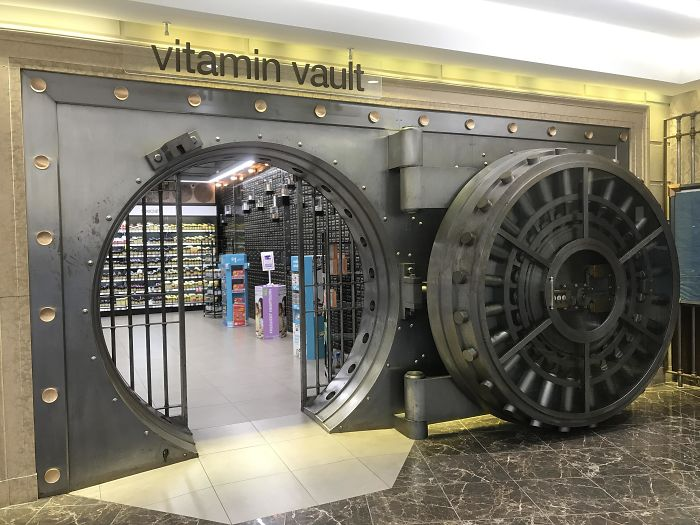 The Walgreens In My Neighborhood Used To Be A Bank And They Used Its Vault As Their Vitamin Section