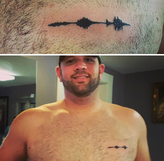 His Son Died Of Sids Last Year, And Got A Waveform Tattoo Of His Sons Laugh