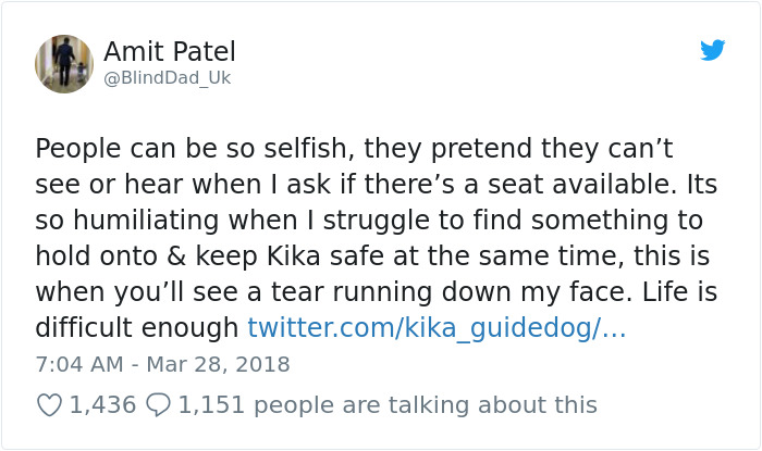 blind-man-guide-dog-no-one-offers-train-seat-london-amit-patel-2-5abde44301f7f__700 Blind Man Left In 'Tears' After Nobody Gave Up Their Seat For Him And His Guide Dog On The Train Design Random