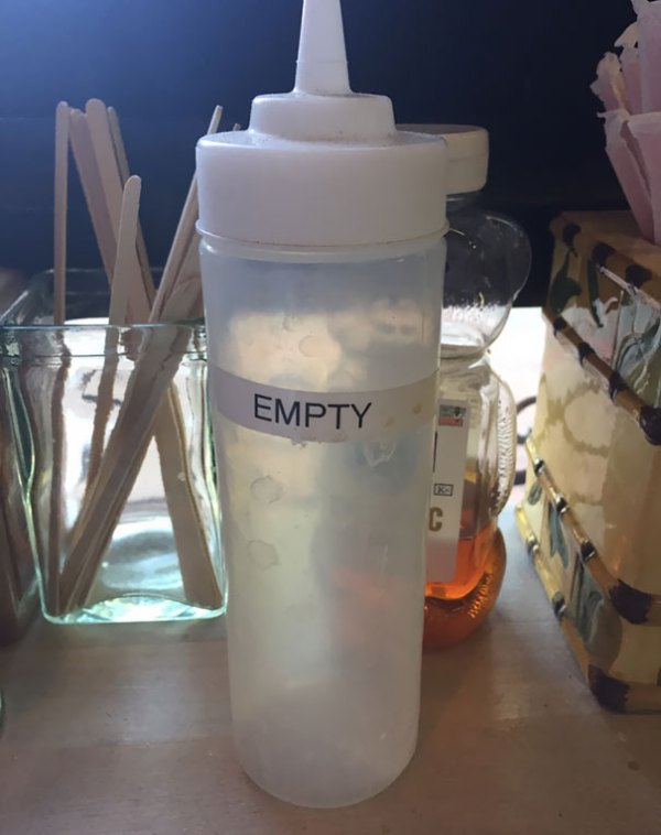 "I Noticed This Bottle At A Local Coffee Shop, And Asked The Owner About It. He Said ""Health Inspector Asked 'What's This Jar?' And I Said Nothing, It's Empty, And She Said 'Everything Has To Be Labeled' So I Labeled It"""