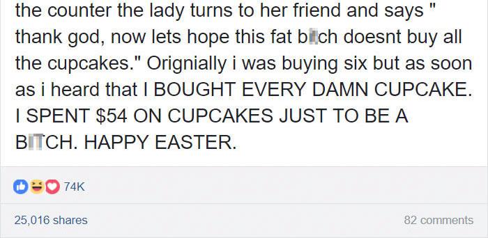 bakery-fat-shamed-girl-cupcakes-revenge-vega-blossom-indiana-28 Teenager Fat-Shamed In A Bakery Comes Up With A Genius Revenge On The Spot Design Random