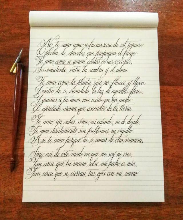 Practicando caligrafía: Soneto XVII de Pablo Neruda