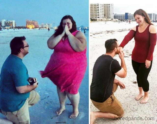 Me intenta equivalente cuando pesaba 220 kilos que ahora que peso 82. El amor no tiene tamaño o límite de peso