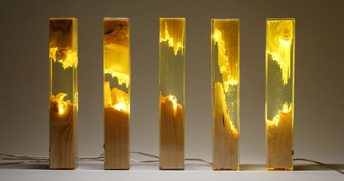 Torn Lamps Made From Wood And Resin By Guideco Design Resina E