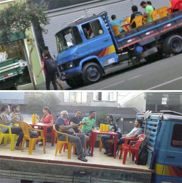 A Mayor In Brazil Prohibited Bar Owners From Setting Tables On The Sidewalk. Here's Their Solution