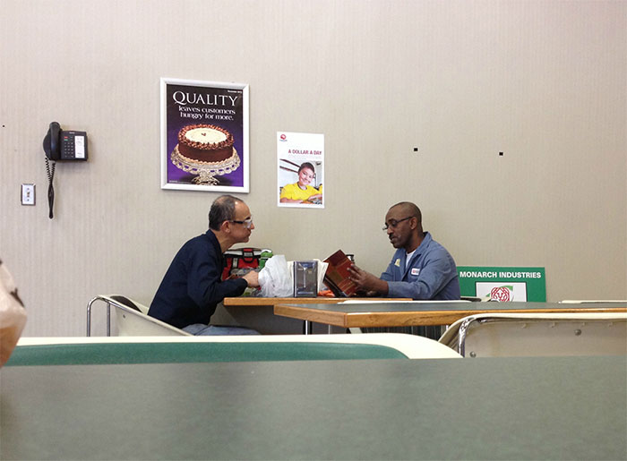 This Man Reads Everyday At Lunch To A Man Who Cannot