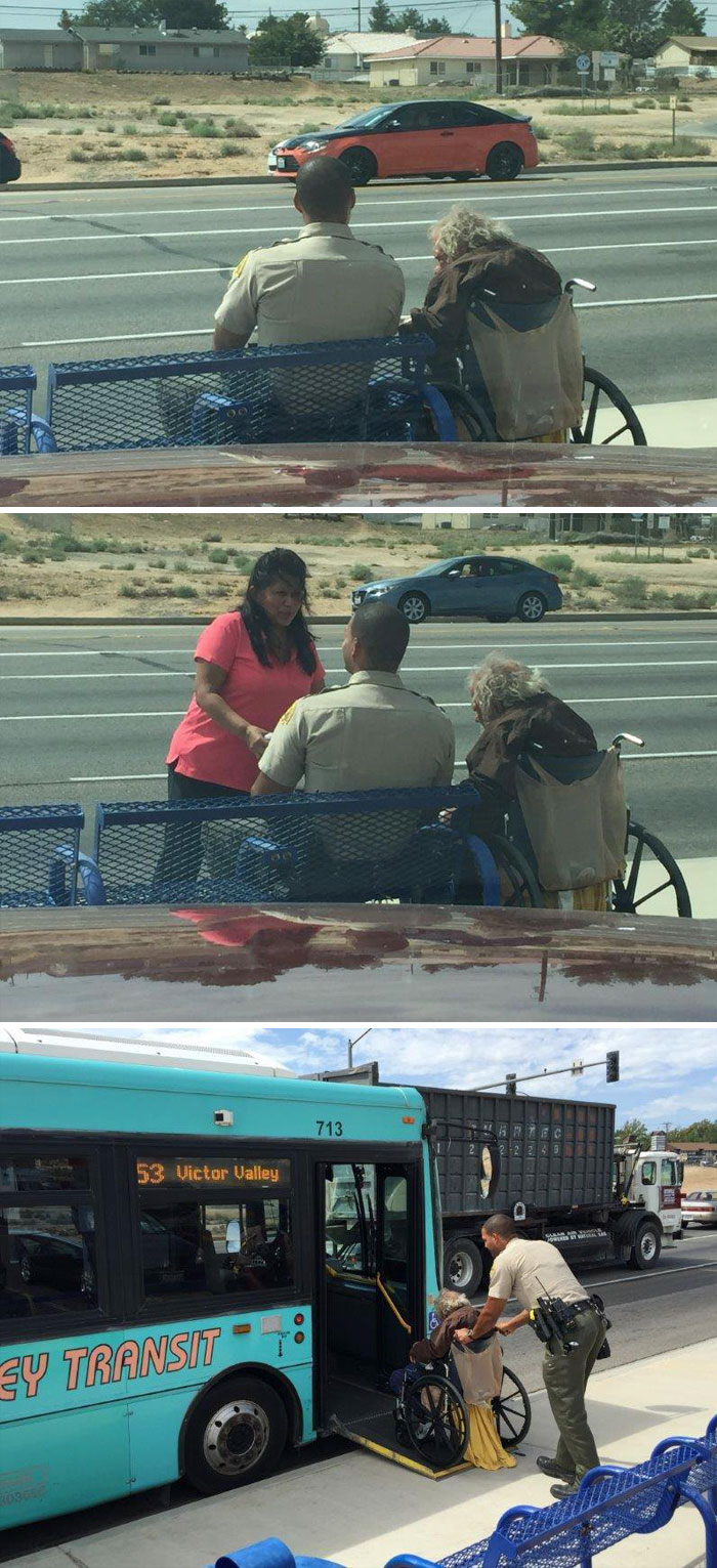 Police Officer Keeping A Man Company At A Bus Stop