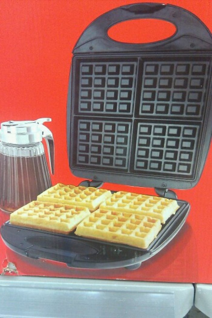 Number Of Holes In These Waffles Doesn't Match The Iron They Are Sitting In