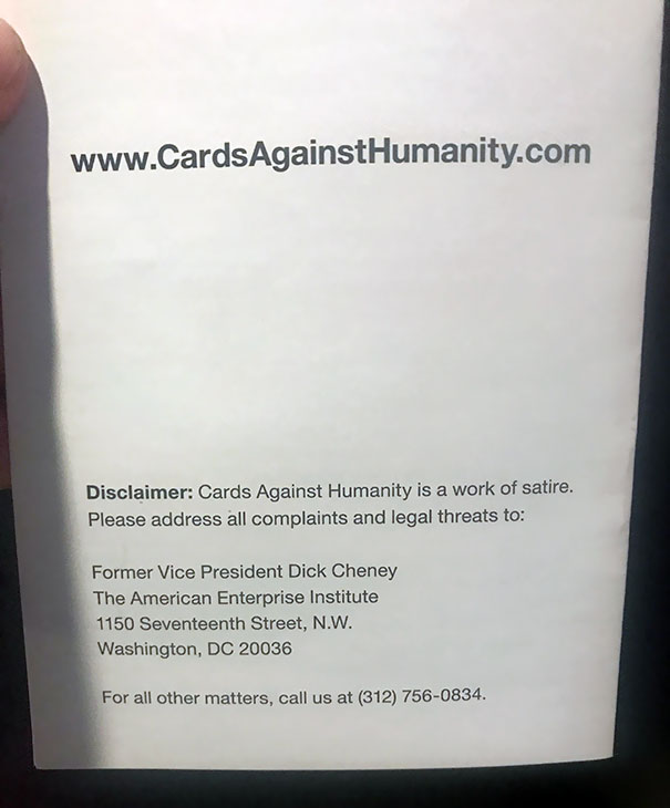 Just Noticed This Reading The Back Of The Instruction Pamphlet For Cards Against Humanity