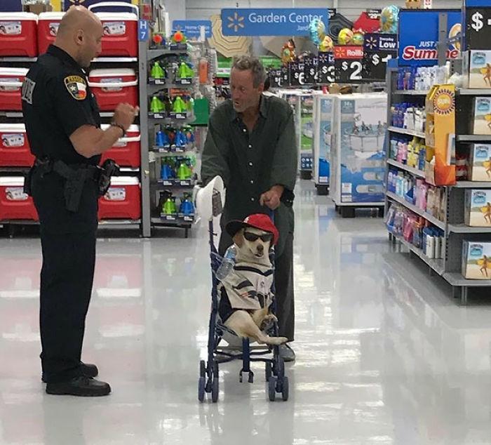 Chico paseando a su perro en la tienda