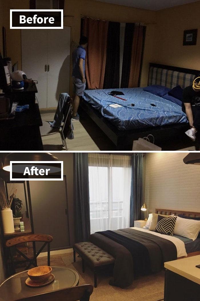 La primera vez que se hizo en el apartamento de mi amigo. Aquí hay un antes y un después. También es la primera vez que alguien me pidió que diseñe su casa