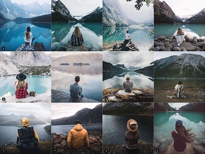 Persona sentada sola delante de un lago
