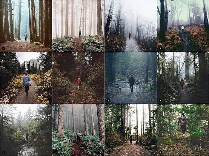 Persona Centrado en el camino en el bosque