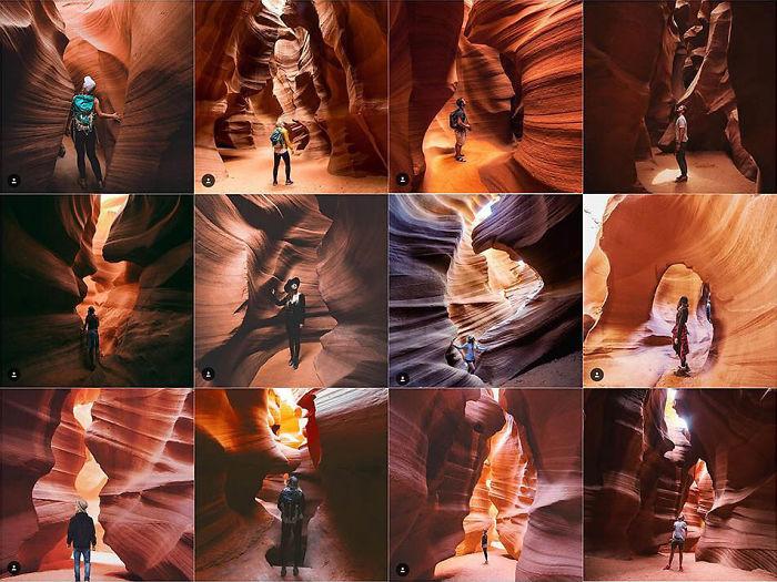Persona sola, centrada, mirando hacia arriba en un cañón de ranura
