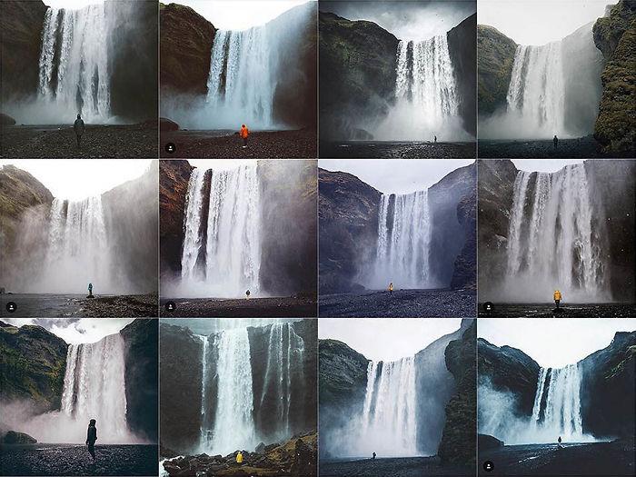 Persona en frente de la cascada