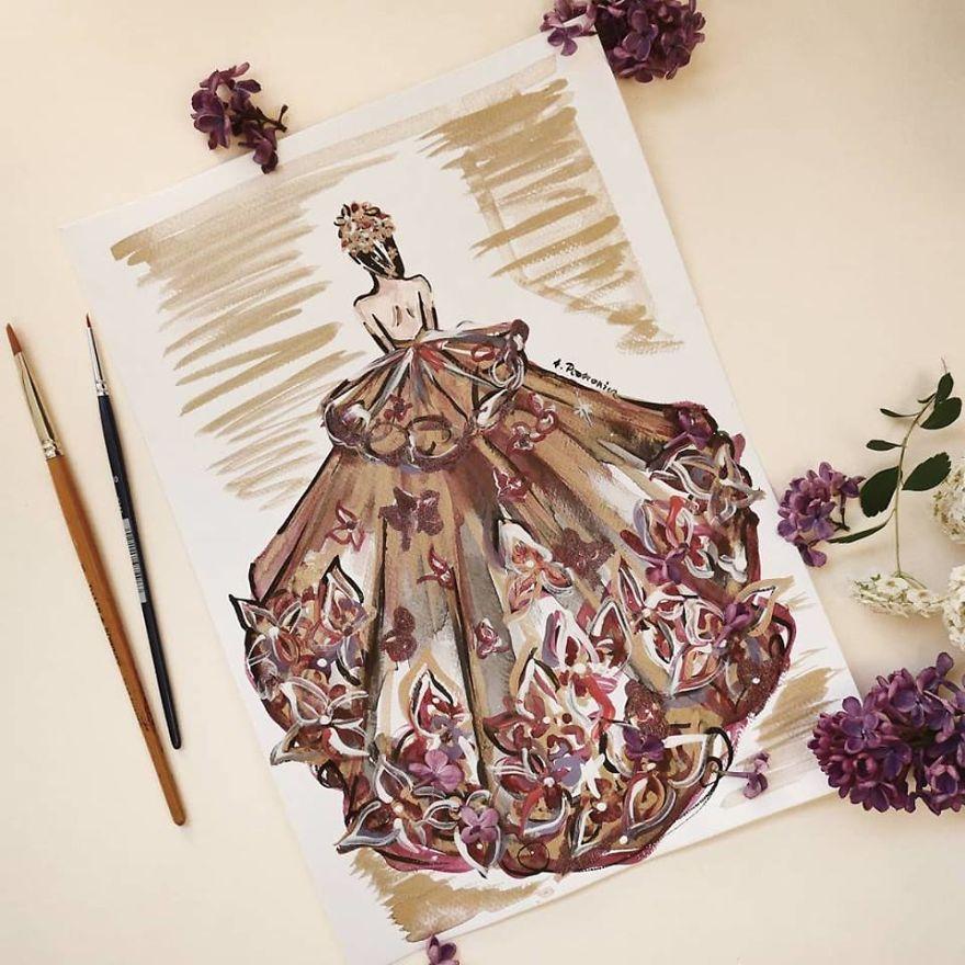 I Create Beautiful Watercolor Dresses