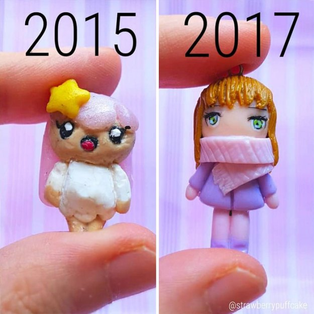 Clay-modeling-artist-showed-how-the-experience-made-him-evolve-and-this-progress-is-very-good-to-see-5b6aabd34292e__700 Artist Tries To Recreate Her Old Artworks, Gets Pleasantly Surprised By How Much She Has Evolved (10+ Pics) Art Design Random