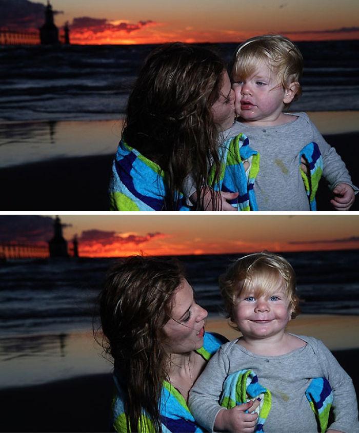 Chica en la playa Pensé que mi hijo era lindo. Creo que él sabe lo que está haciendo