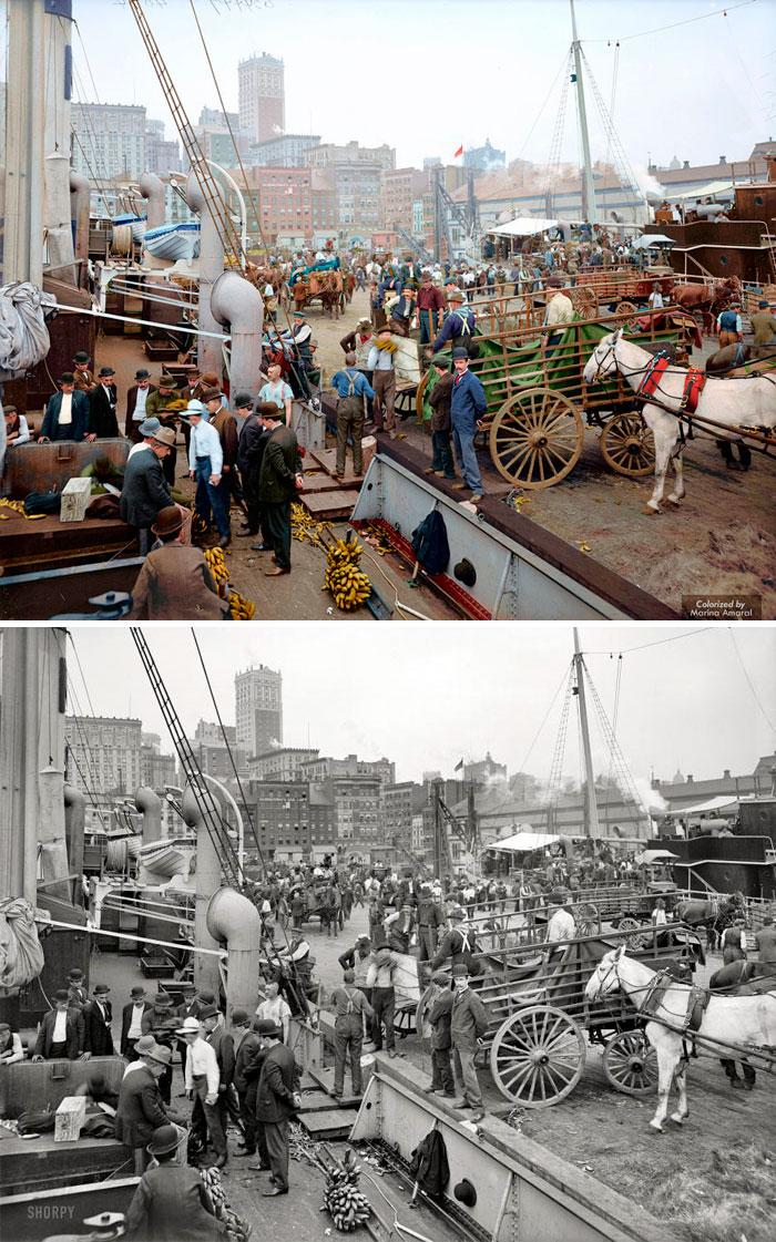 Banana Docks, Nueva York. CA 1890 - 1910