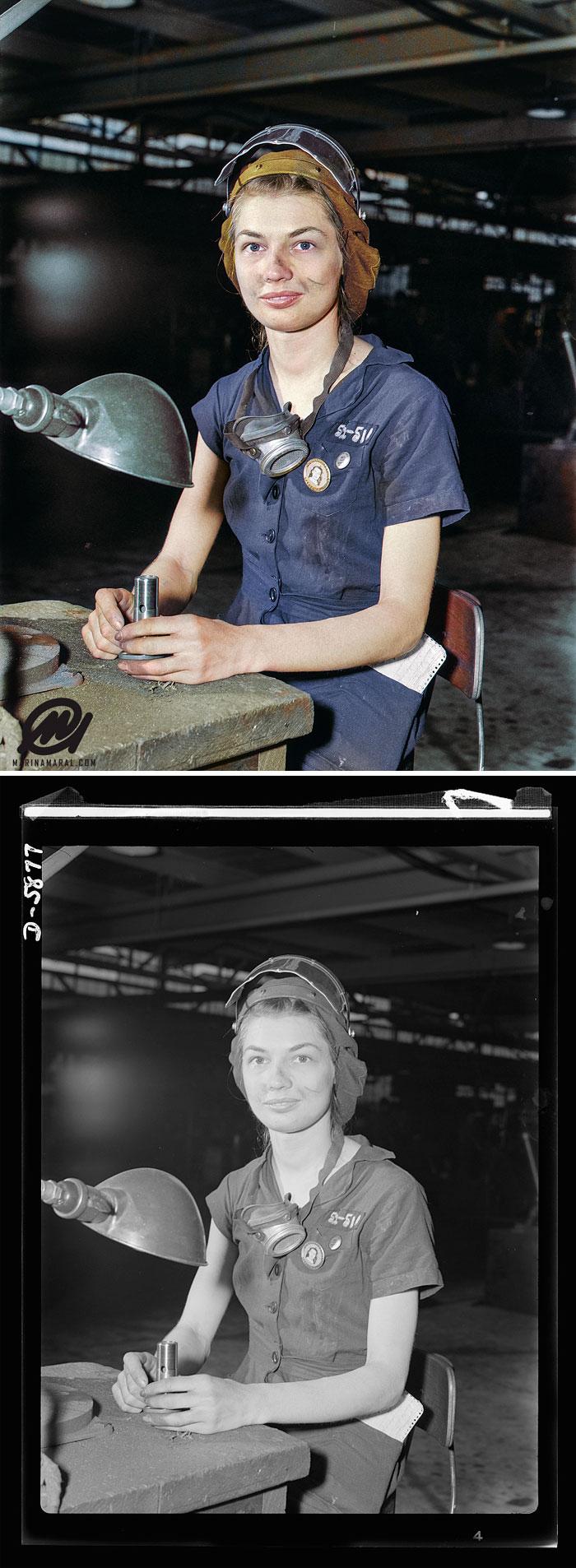 Eunice Hancock, una mujer de 21 años de edad, opera un molino de aire comprimido en una planta de aviones del Medio Oeste durante la Segunda Guerra Mundial. Agosto de 1942