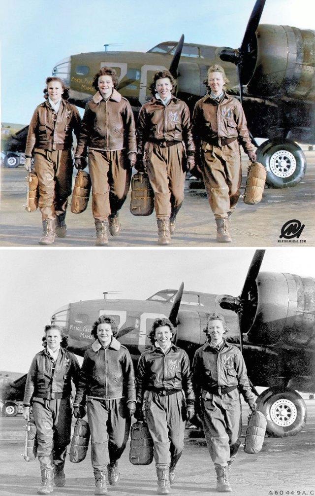 Cuatro pilotos bajándose de su aeroplano en Lockbourne AAF, 1944
