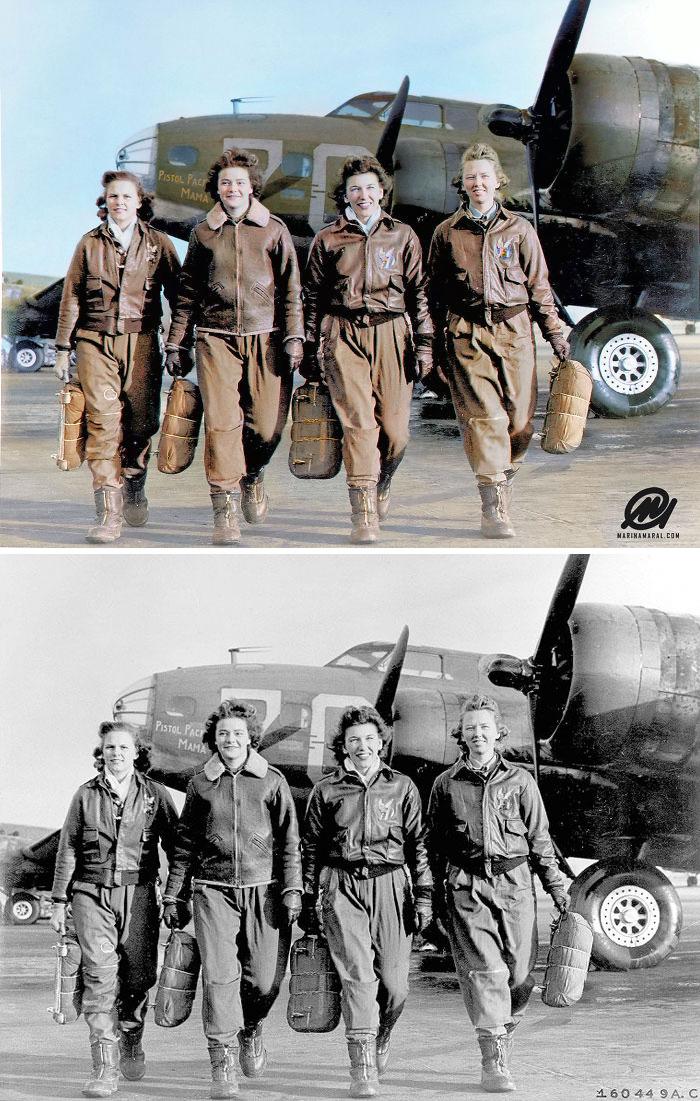 Cuatro pilotos dejando su barco, Pistola Packin' Mama, en The Four Engine School en Lockbourne AAF, 1944