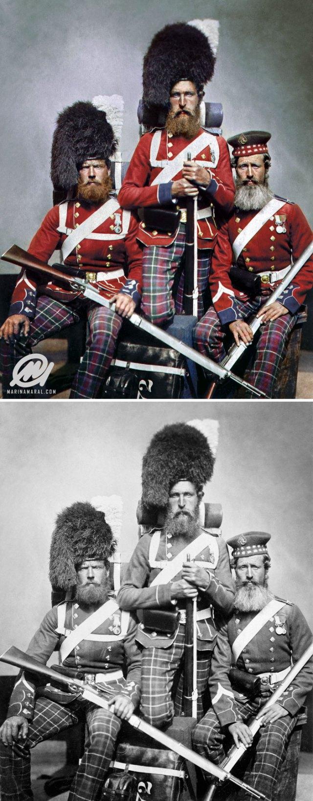 3 de los 72 Highlanders que sirvieron en Crimea, 1853-1856