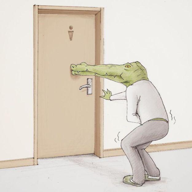 crocodile-life-animals-illustrations-keigo-japan-35-5b7a7d222c2a8__700 20+ Problems Of A Crocodile Hilariously Illustrated By Japanese Artist Keigo Design Random