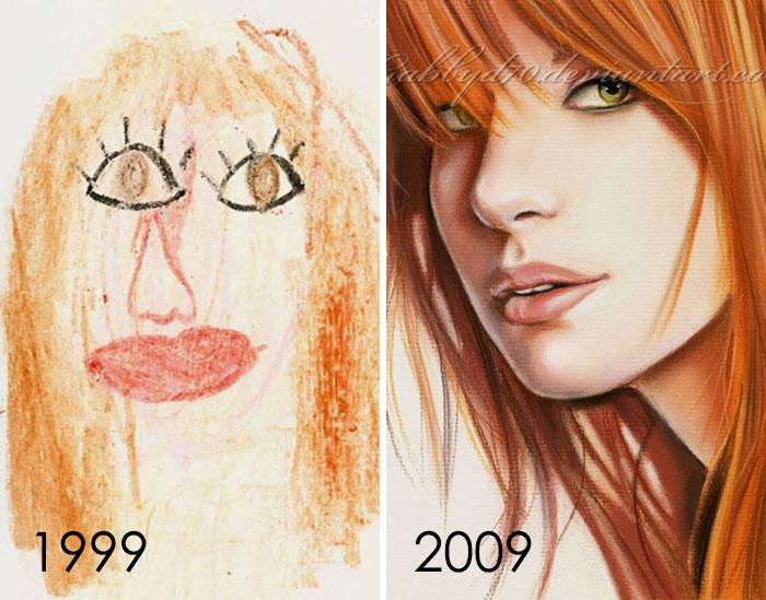 Mi madre encontró uno de mis viejos libros de bocetos de 1999 y el dibujo de la izquierda era una pequeña joya que encontré allí. Dibujé el de la izquierda a los 9 años y el de la derecha a los 19 años