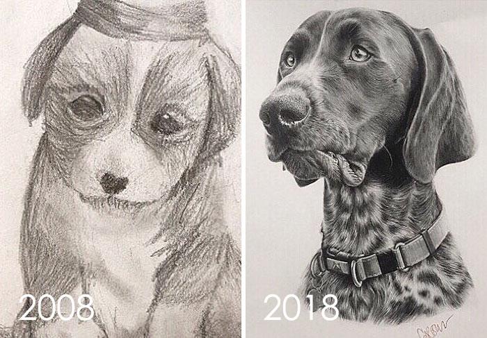 Encontré este dibujo que hice en 2008 cuando tenía 11 años del cachorro Adoptamos Who's Now A Old Man
