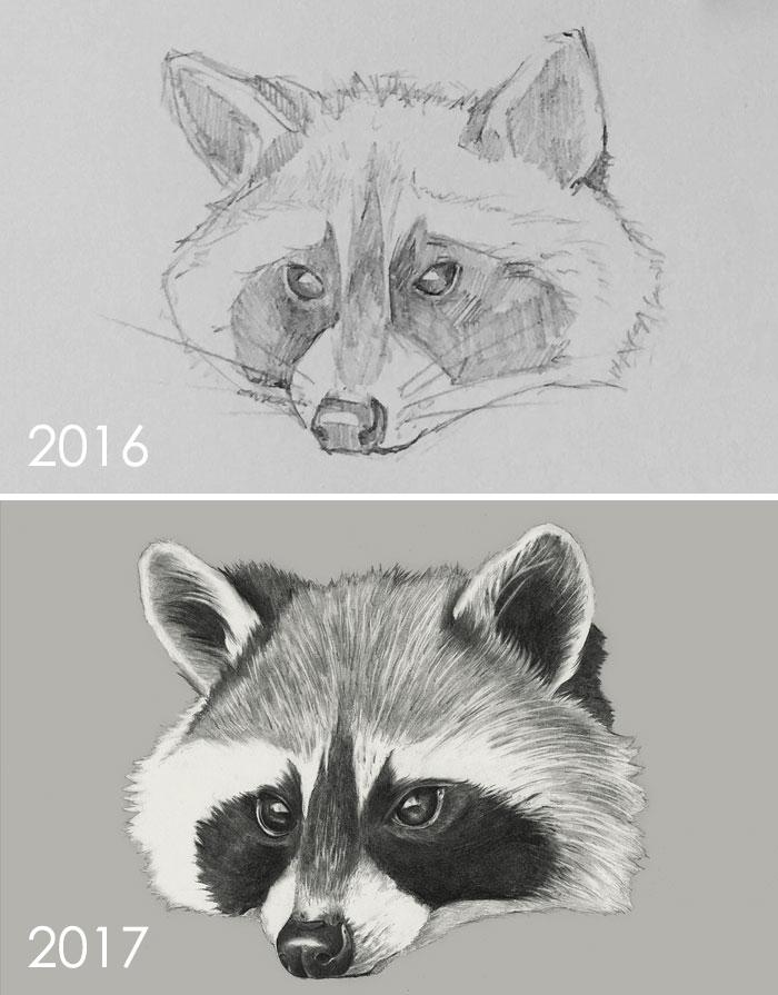 Progreso de un año de dibujo