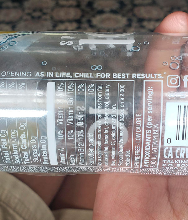 This Label On My Sparkling Ice Bottle